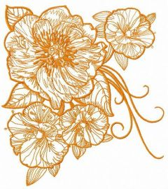 Big rose flowers embroidery design 3