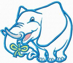 Blue elephant embroidery design