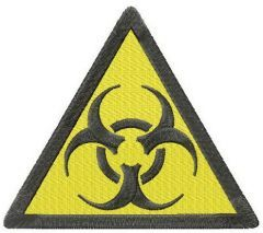 Biohazard road symbol embroidery design