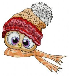 Bird in knitted hat and scarf embroidery design