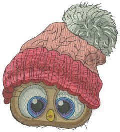 Bird in knitted hat embroidery design