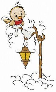 Bird on lantern embroidery design