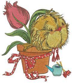 Birdie and tulip embroidery design