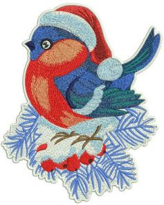 Birdie on snowy rowan embroidery design
