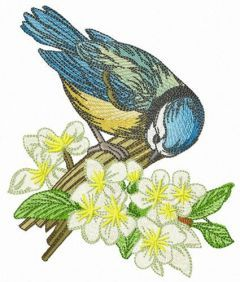 Birdie with hackberry embroidery design