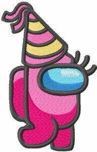 Birthday among us embroidery design
