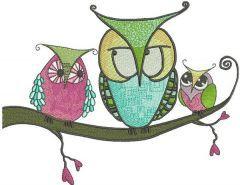 Bizarre owls embroidery design