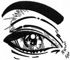 Black eye embroidery design