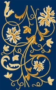 Flower border element embroidery design