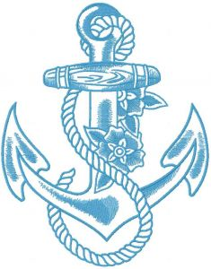 Blue anchor embroidery design