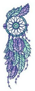Blue and purple dreamcatcher embroidery design