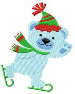 Blue bear skating machine embroidery design