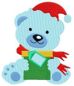 Blue bear with gift embroidery design