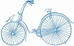 Blue bicycle embroidery design