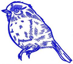Bullfinch one color embroidery design