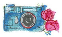 Blue camera and roses embroidery design