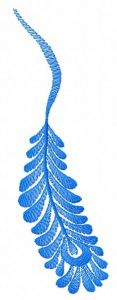 Blue feather machine embroidery design