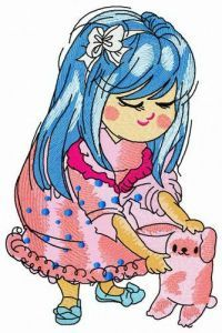 Bluehaired girl with pink bunny embroidery design