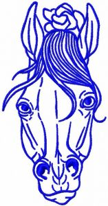 Blue horse embroidery design
