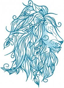 Blue lion embroidery design