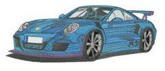 Blue racing car embroidery design