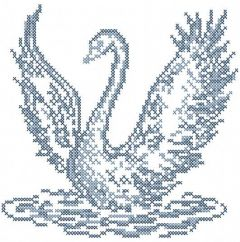 Blue swan embroidery design