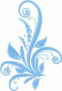 Blue swirl plant embroidery design