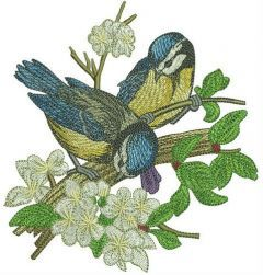 Blue tits on apple tree embroidery design