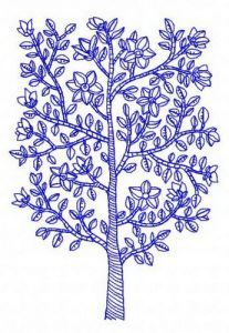 Blue tree embroidery design