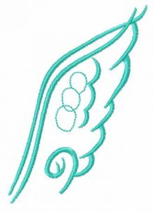 Blue wing embroidery design