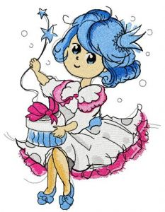 Bluehaired princess birthday embroidery design