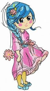 Bluehaired teen embroidery design