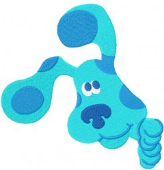 Blues clues peeps out from around the corner embroidery design