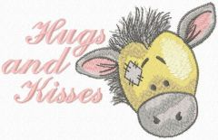 Hugs and kisses embroidery design