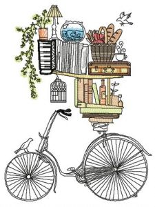 Book shelves and bike embroidery design