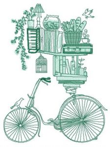 Book shelves and bike sketch embroidery design