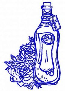 Bottle and flowers embroidery design 2