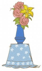 Bouquet in vase embroidery design
