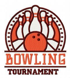 Bowling tournament embroidery design