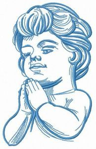 Boy praying embroidery design