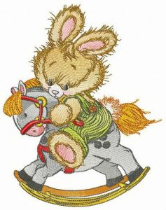 Brave bunny embroidery design