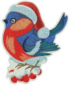 Bright bird on rowan branch embroidery design