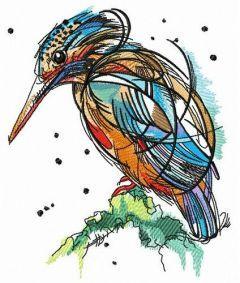 Bright birdie embroidery design