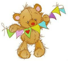 Bright garland for teddy's room embroidery design