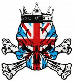 British skull 4 embroidery design