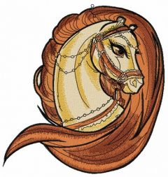 Brown horse head embroidery design