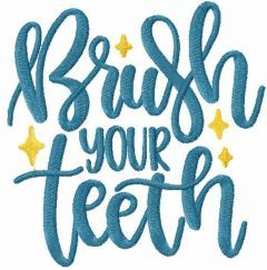 Brush your teeth embroidery design