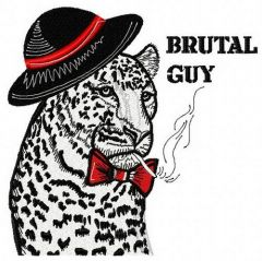 Brutal guy embroidery design
