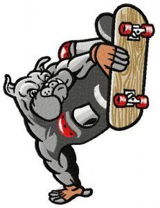 Bulldog on skateboard embroidery design