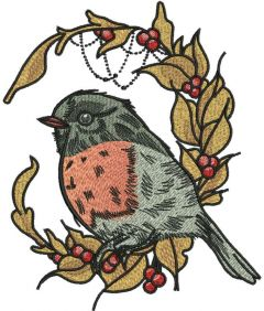 Bullfinch and autumn leaves embroidery design
